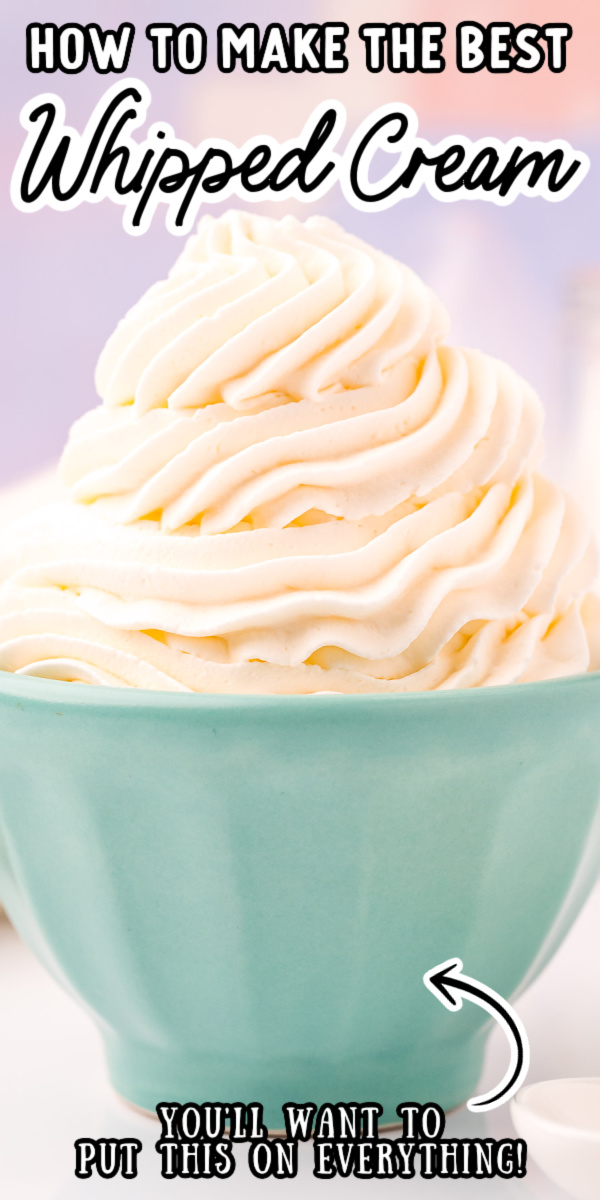 The ultimate guide for how to make Perfect Homemade Whipped Cream at home! I'm sharing all my tips and tricks for light, fluffy, and creamy peaks you'll want to serve with every dessert! via @sugarandsoulco