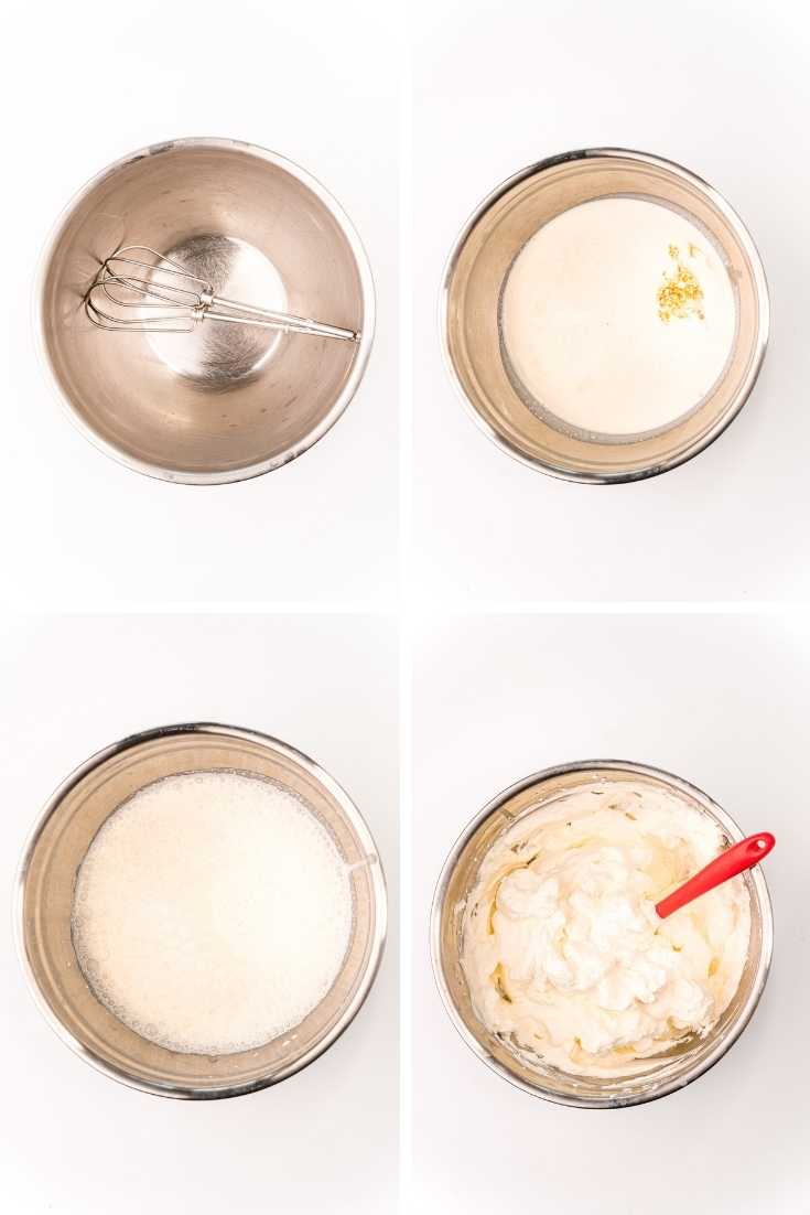 step-by-step photo collage showing how to make homemade whipped cream.