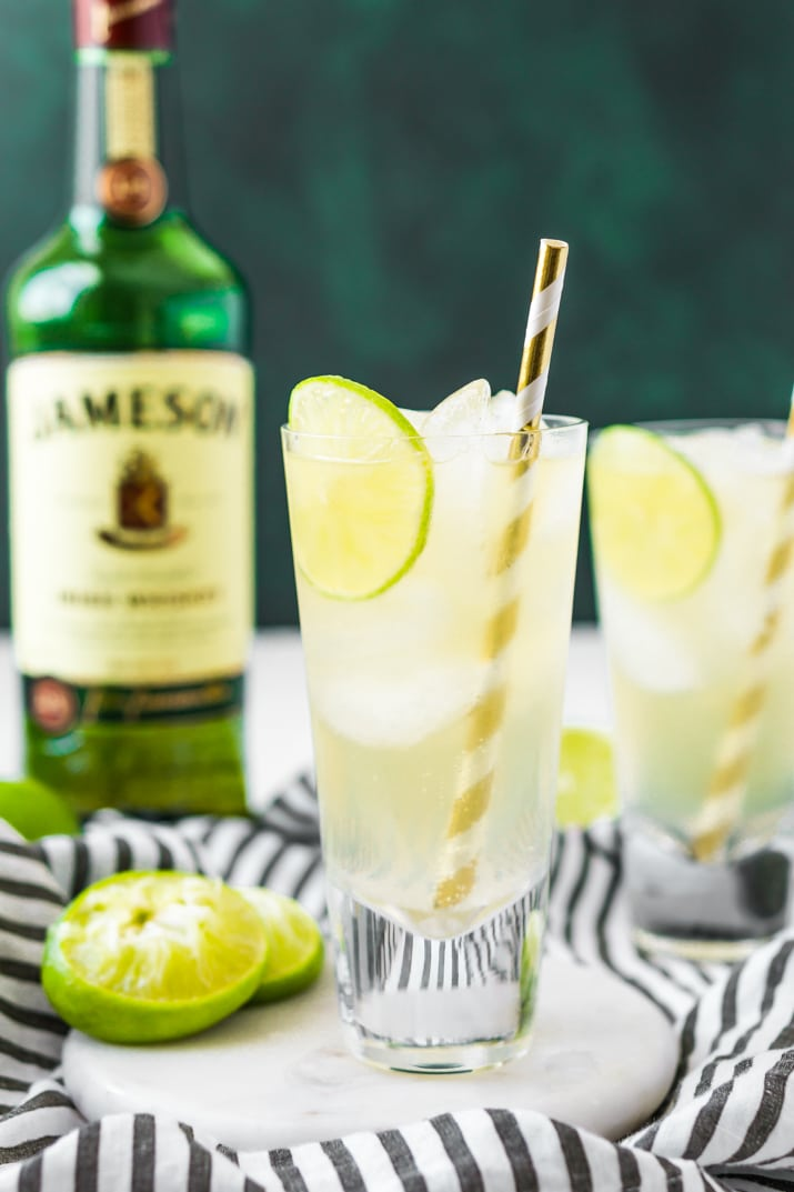 Irish Mule Drink Recipe made with Jameson Whiskey, Lime Juice, and Ginger Beer.