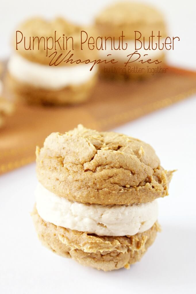 These Mini Pumpkin Peanut Butter Whoopie Pies are so easy to make and perfect for a quick treat this fall! Living Better Together