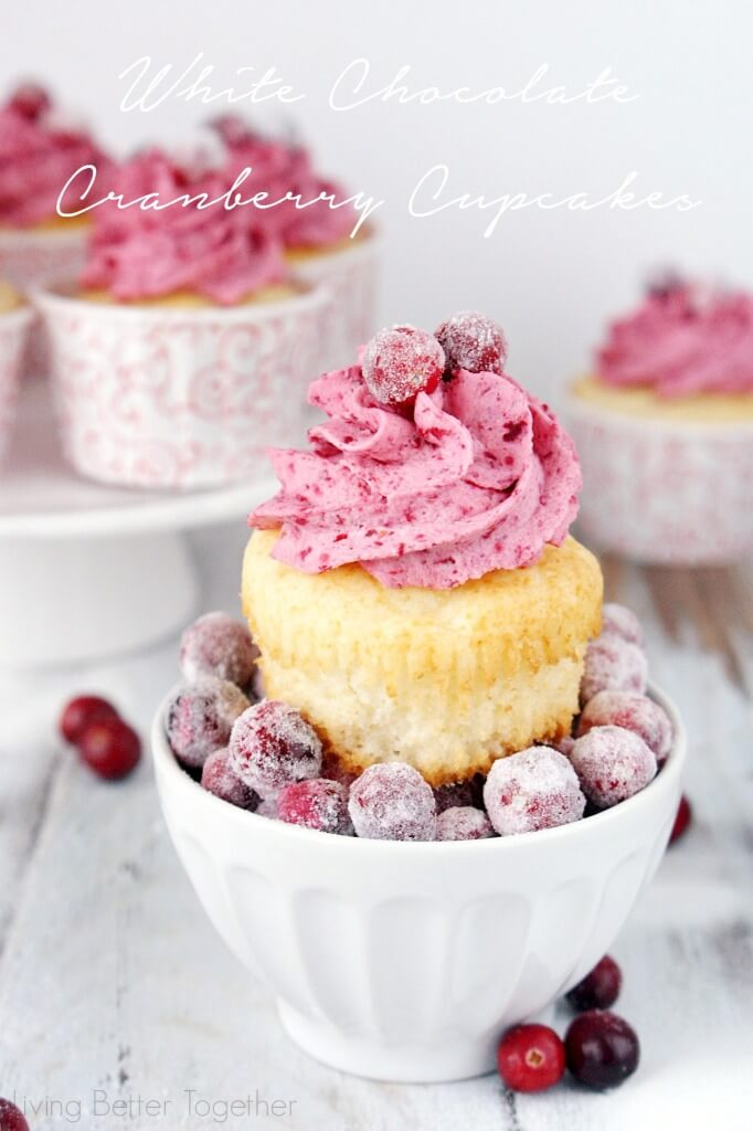 These White Chocolate Cranberry Cupcakes are the perfect mix of sweet and tart. Sugared cranberries finish them off and make them a great finish to any holiday or winter get together! Living Better Together