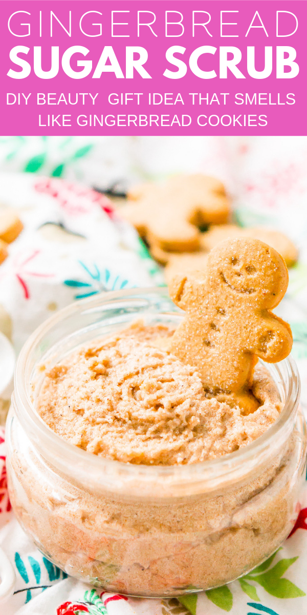 Treat your skin to a holiday treat with this Whipped Gingerbread Sugar Scrub! Everything you need is already in your pantry making it the perfect last-minute gift! via @sugarandsoulco