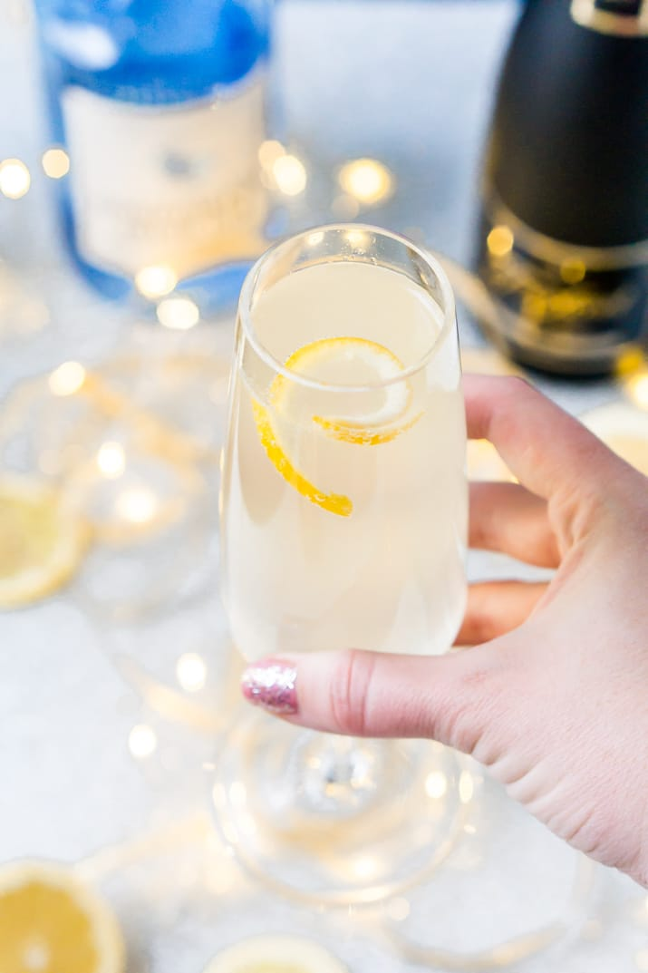 French 75 - Lemon, gin, and champagne cocktail