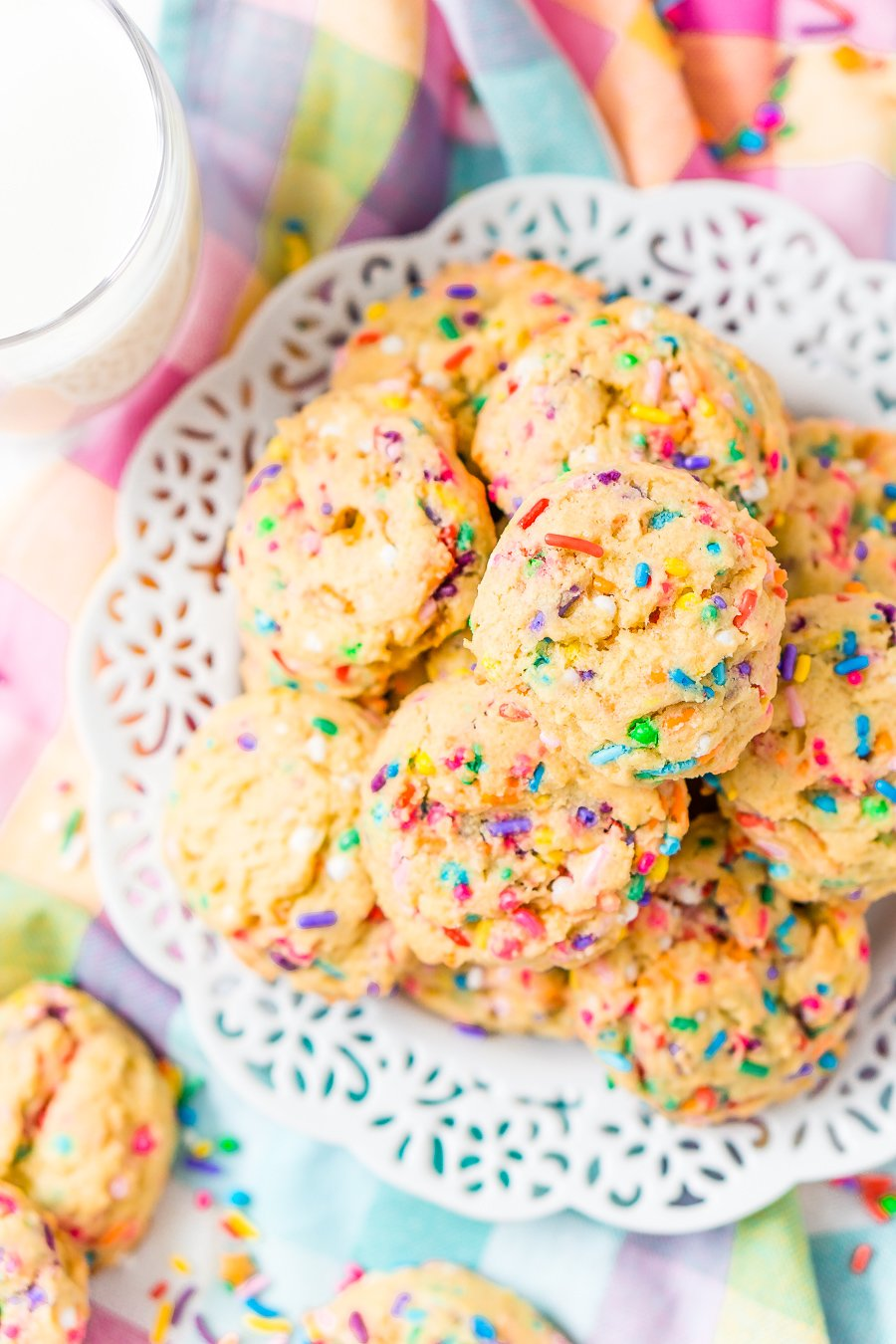 These Birthday Cake Pudding Cookies are sweet, chewy and loaded up with sprinkles. Temptingvanilla makes them the perfect alternative to cake, or you know, have both! I did!