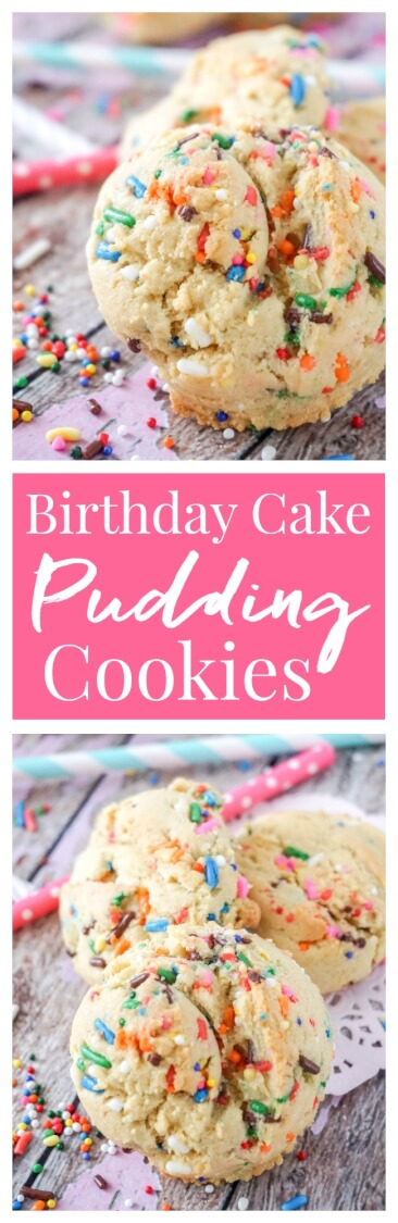 These Birthday Cake Pudding Cookies are sweet, chewy and loaded up with sprinkles. A hint of vanilla make them the perfect alternative to cake. Or, you know, have both!