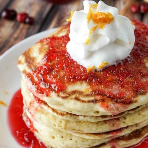 Orange Ricotta Pancakes with Cranberry Orange Bourbon Syrup