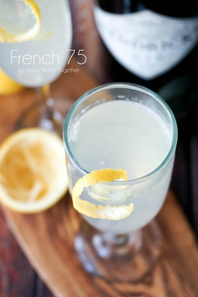 The French 75 is a classic Mad Men inspired cocktail that combines bright citrus with the earthy notes of gin and the sparkle of champagne.