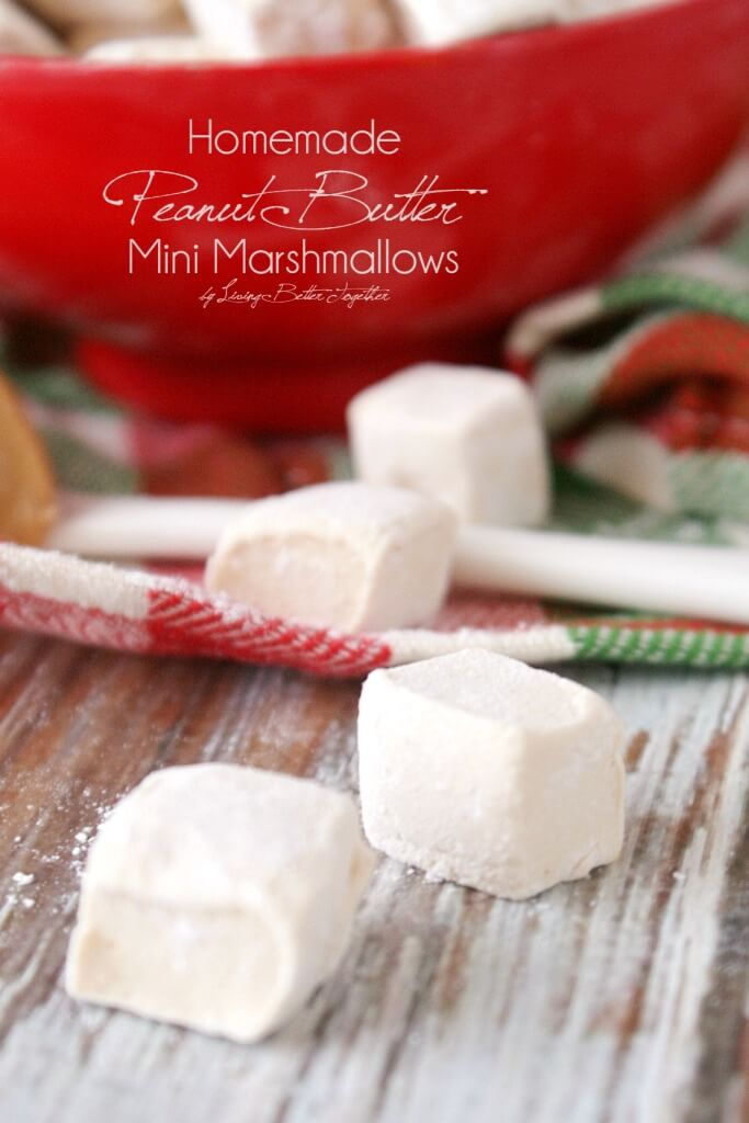 Make these Mini Peanut Butter Marshmallows right at home in no time at all, they're the perfect addition to hot cocoa and make for some killer s'mores! www.sugarandsoul.co