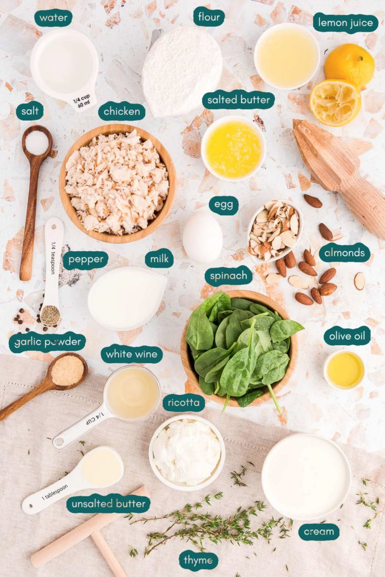 Overhead photo of ingredients prepped to make spinach and chicken crepes on a countertop.