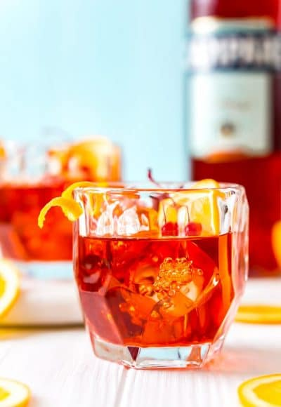 This Boulevardier is an Americanized version of the classic Negroni Cocktail, trading in the gin for rye whiskey. It's a simple and sophisticated drink made with whiskey, Campari, and sweet vermouth served on the rocks.