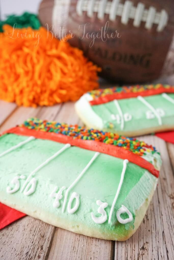 These Football Stadium Sugar Cookies are so easy to make and they're going to be the talk of the party during playoff season!