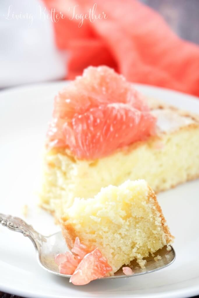 This light Olive Oil Cake is brightened up with fresh and vibrant Florida Grapefruit making it perfect for brunch or dessert! It's just 5-ingredients and 300 calories per serving, are you in love yet?