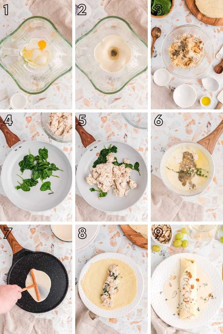 Step-by-step photo collage showing how to make spinach and chicken crepes from scratch.