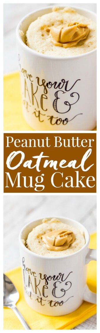 This Peanut Butter & Oatmeal Mug Cake is a simple and fast, sweet and salty fix for dessert or breakfast, it's ready in just 5 minutes! via @sugarandsoulco