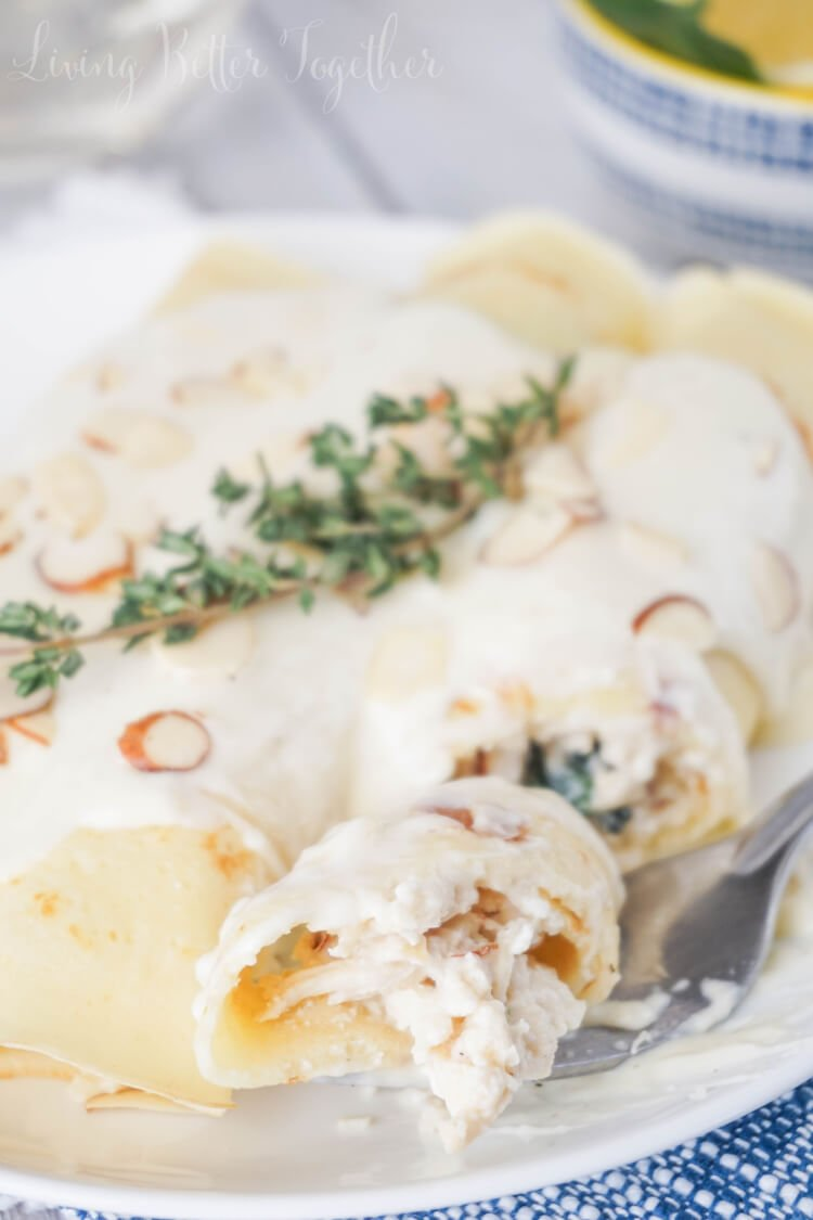 These Spinach & Chicken Crepes are soft and stuffed with lemon chicken ...