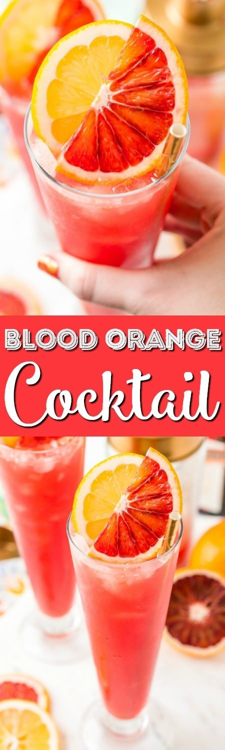 This Blood Orange Cocktail made with blood oranges, gin, lemon juice, citrus bitters, Cointreau, and ice. It's a sexy, fun, and tasty pink drink I call a Citrus Tango!