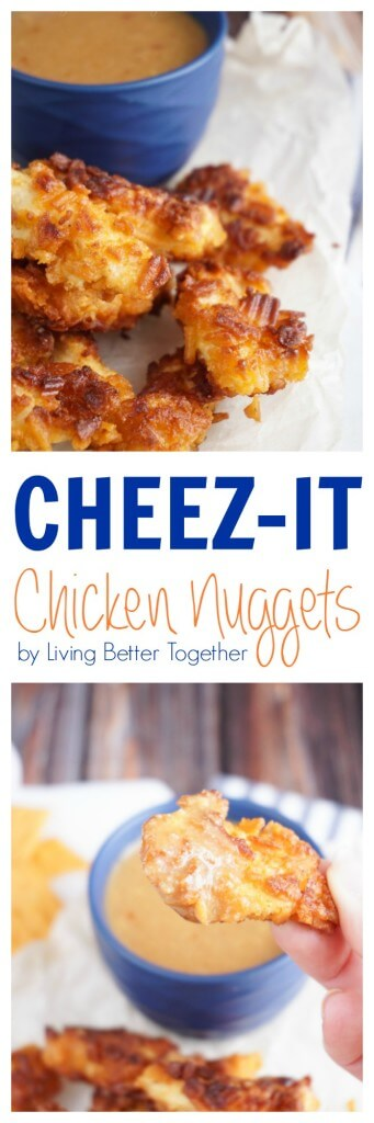 These Cheez-It Chicken Nuggets are made with moist white meat and Cheez-It Cheddar Grooves and served with a Thai Peanut Dipping Sauce.