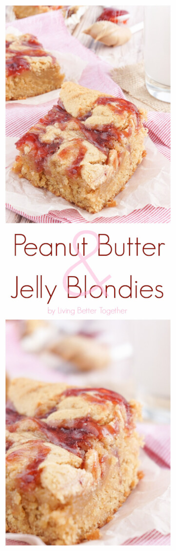 These Peanut Butter and Jelly Blondies are an easy dessert the whole family will love! via @sugarandsoulco