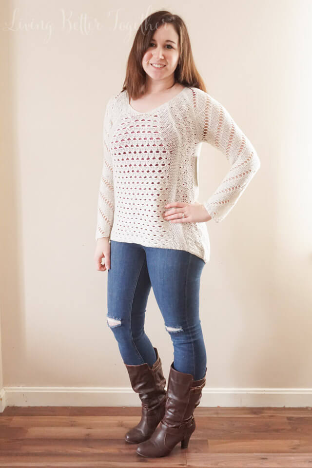 April 2015 Stitch Fix Review: RD Style - Braddon Airy Knit V-Neck Sweater and Just Black Johanna Distressed Skinny Jean