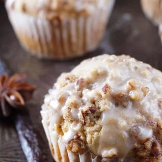 These Vanilla Chai Crumble Muffins are the essence of a cozy breakfast. Made with vanilla chai, Vietnamese cinnamon, brown sugar, pecans, and a sweet glaze, they're absolutely delicious! #IDelightInChai #ad