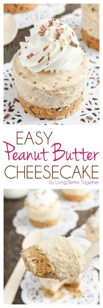This Easy Peanut Butter Cheesecake is creamy and rich with a sweet graham cracker crust and classic whipped cream. Plus you can make a big one or mini ones!