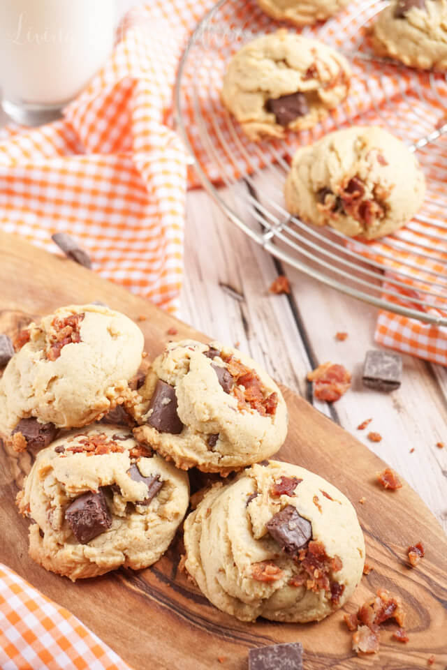 These Peanut Butter Bacon Chocolate Chunk Pudding Cookies are a chewy blend of sweet and salty. No chill time means they're ready in 30 minutes!