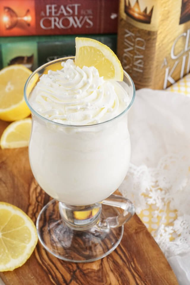 Inspired by the famous Game of Thrones dessert, Sansa's Lemon Cake Cocktail is made with, ice cream, milk, lemon curd, and cake and is the perfect blend of tart and sweet in a glass!
