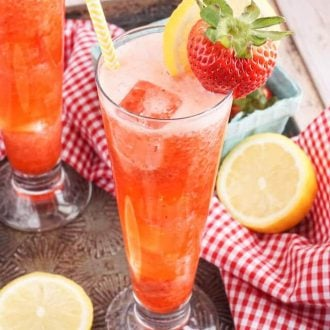 This Roasted Strawberry Lemonade is the perfect mix of bright lemons and sweet strawberries and just what you need on a summer afternoon!