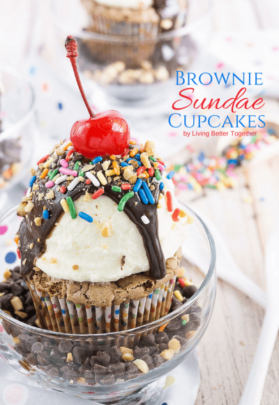 Brownie Sundae Cupcakes - You're going to love these fudgy brownie cupcakes doctored up with a sweet whipped vanilla frosting and all your favorite sundae toppings!