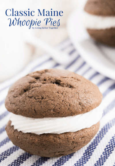 This Classic Maine Whoopie Pies Recipe is the perfect ratio of chocolate cake and sweet vanilla buttercream in a hand-held treat the whole family will love!