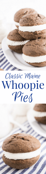 These Classic Maine Whoopie Pies are the perfect ratio of chocolate cake and sweet vanilla buttercream!