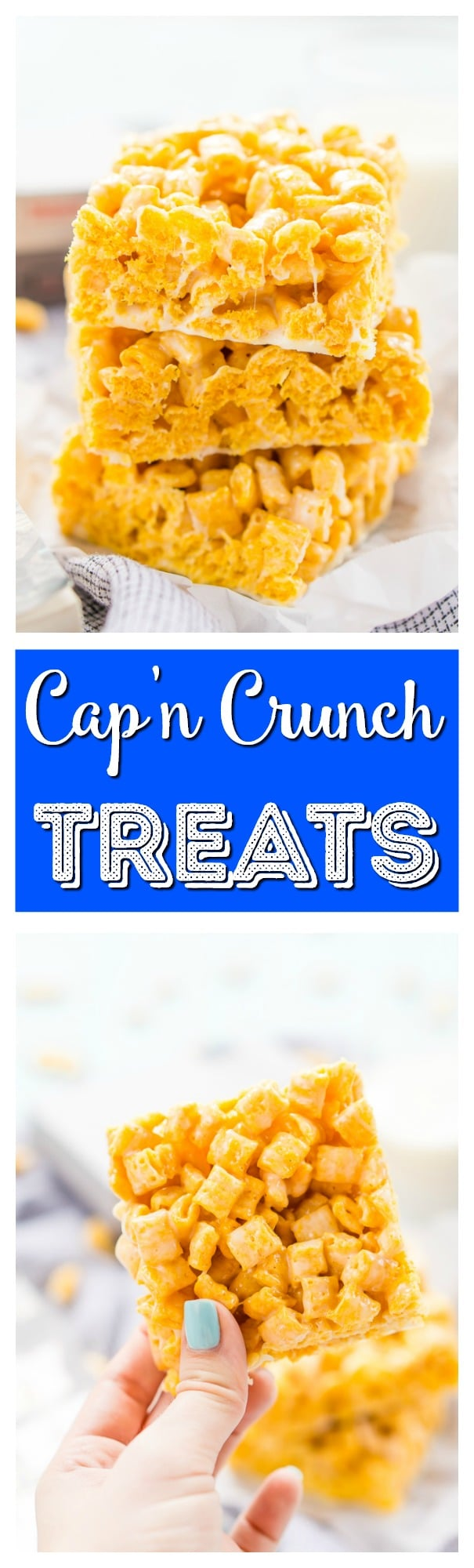 These Cap'n Crunch Treatsare a fun twist on classic rice krispies treats and inspired by the book Ready Player One by Ernest Cline. They're the perfect fast dessert or afternoon snack and Cap'n Crunch lovers will go crazy over them! via @sugarandsoulco