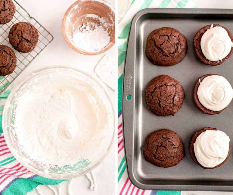 Photo collage showing how to assemble whoopie pies.