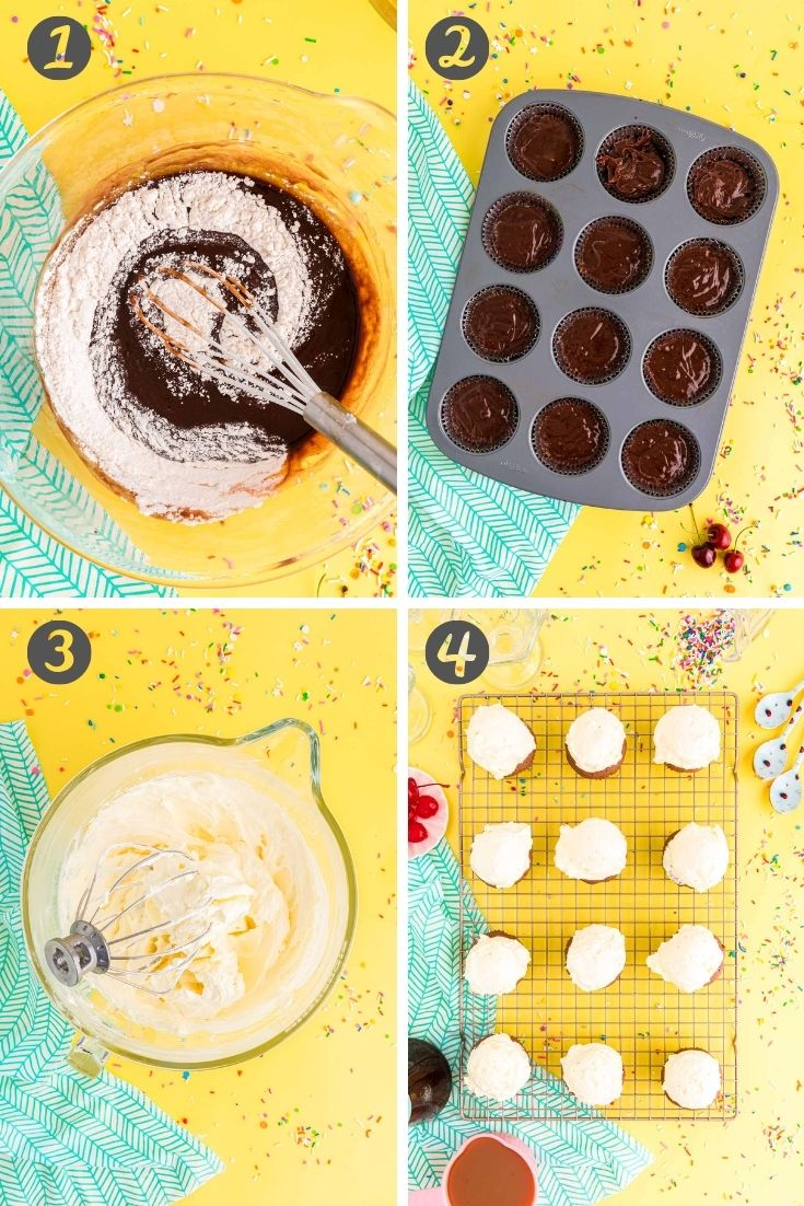 Step by step photo collage showing how to make brownie cupcakes.