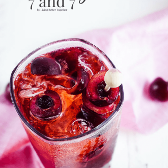 This Cherry 7 and 7 is a fun summer twist on the classic whiskey cocktail!