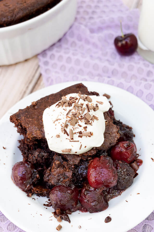 I loved this Black Forest Cobbler! It has a sweet cherry filling and a rich chocolate crust, I loved this new take on traditional cobbler!