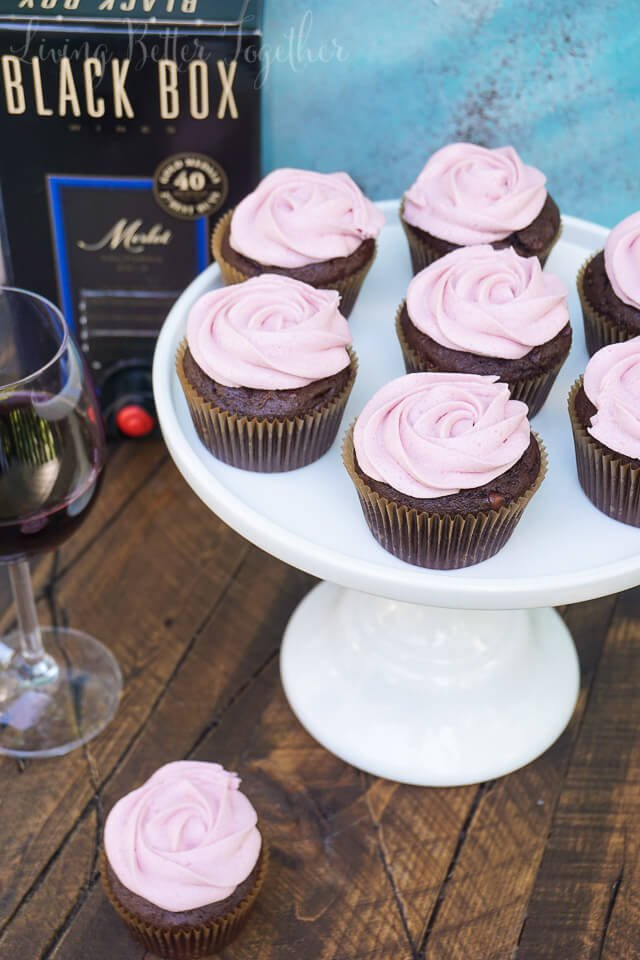 These Chocolate & Merlot Cupcakes are perfect for entertaining summer guests! Rich chocolate fudge cupcakes meets a fine Merlot buttercream for a decadent dessert.
