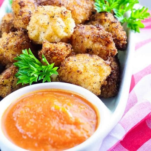 Fried Risotto Bites with Roasted Red Pepper Sauce