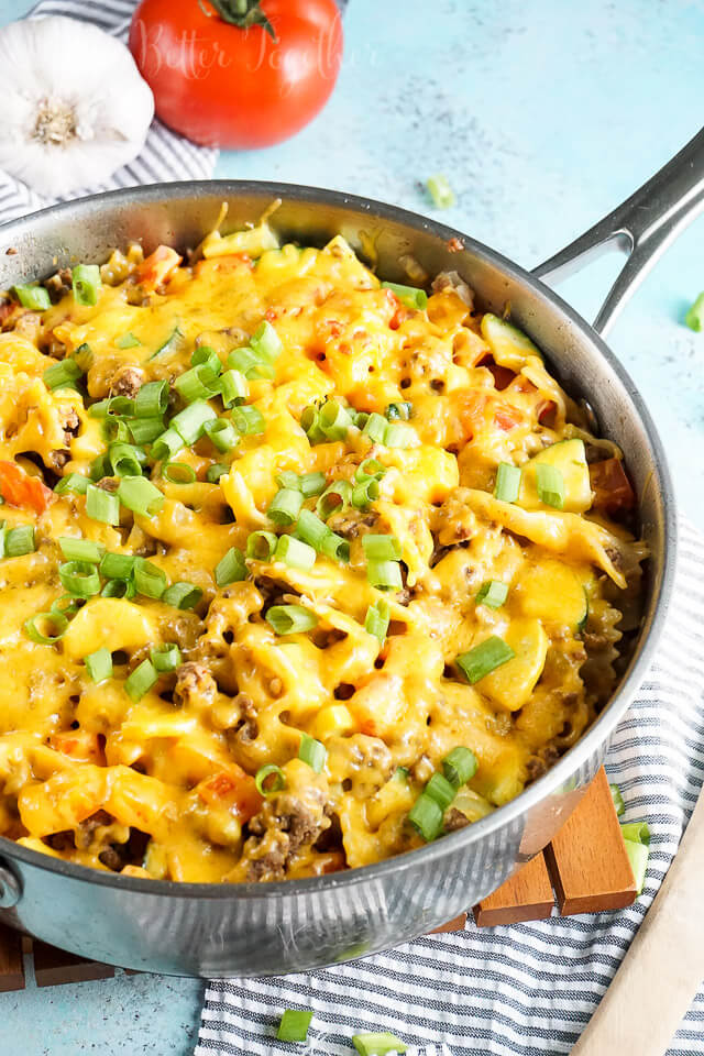 This One Skillet Beef & Veggie Cheesy Pasta is an easy weeknight meal that's loaded with flavor and ready in 30 minutes.