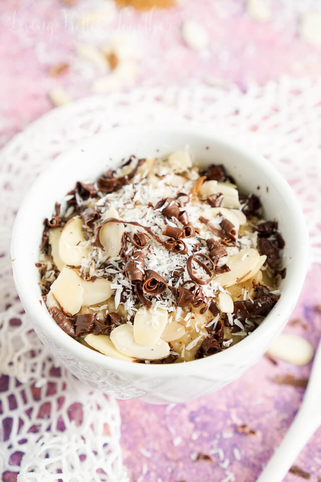 This Almond Joy Rice Pudding is perfect for when you want to indulge a little, but keep it light.