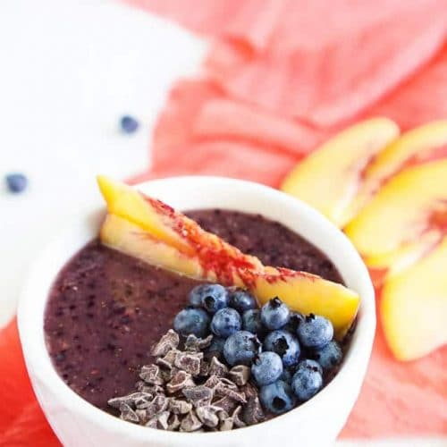 Blueberry Peach Smoothie Bowl