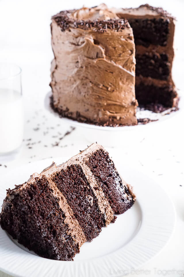 This Black Magic Chocolate Cake is three layers of moist chocolate cake wrapped in The Best Chocolate Buttercream makes this one decadent dessert!