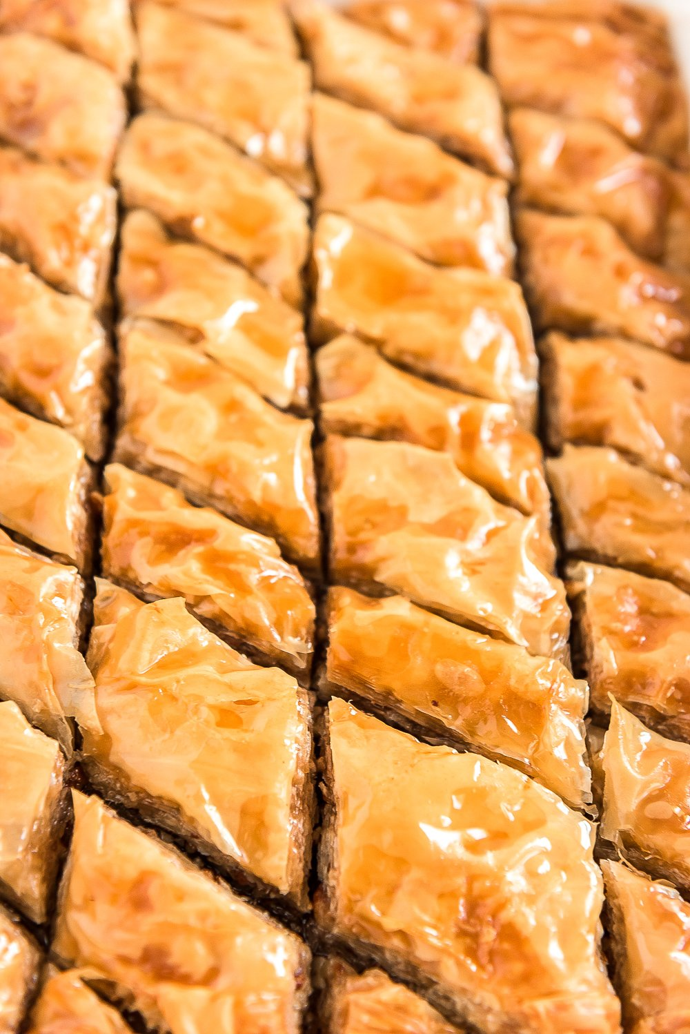 Close up photo of sliced baklava still in baking dish.