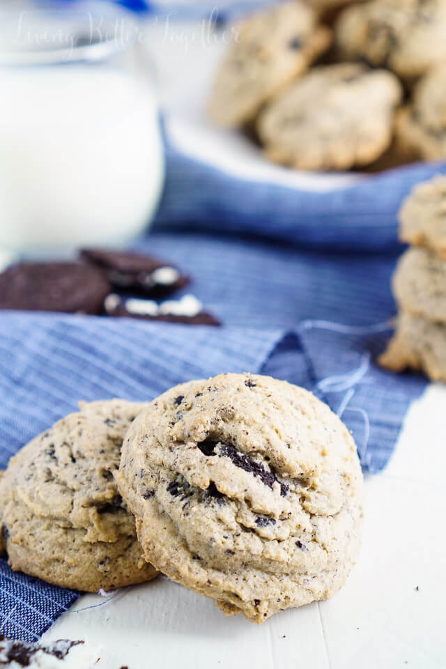 These Oreo Pudding Cookies are so soft and tasty! Bits of Oreo cookies and cream swirled through these light cookies makes them oh so good! Plus the first batch is ready in less than 30 minutes!