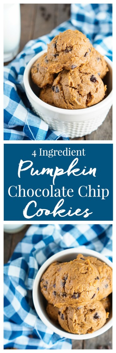 These 4 Ingredient Pumpkin Chocolate Chip Cookies are the BEST! You'll love how moist and fluffy they are and so easy to make too! The first batch is ready in just 20 minutes! via @sugarandsoulco