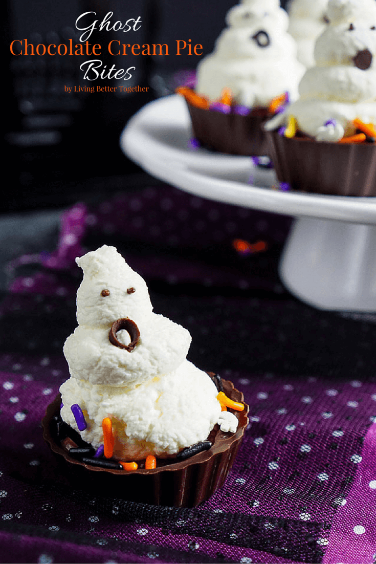 Ghost Chocolate Cream Pie Bites | Spooky Halloween Dessert Ideas