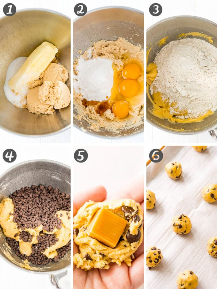 Step-by-step photos showing how to prepare chocolate chip cookies stuffed with caramel candies.