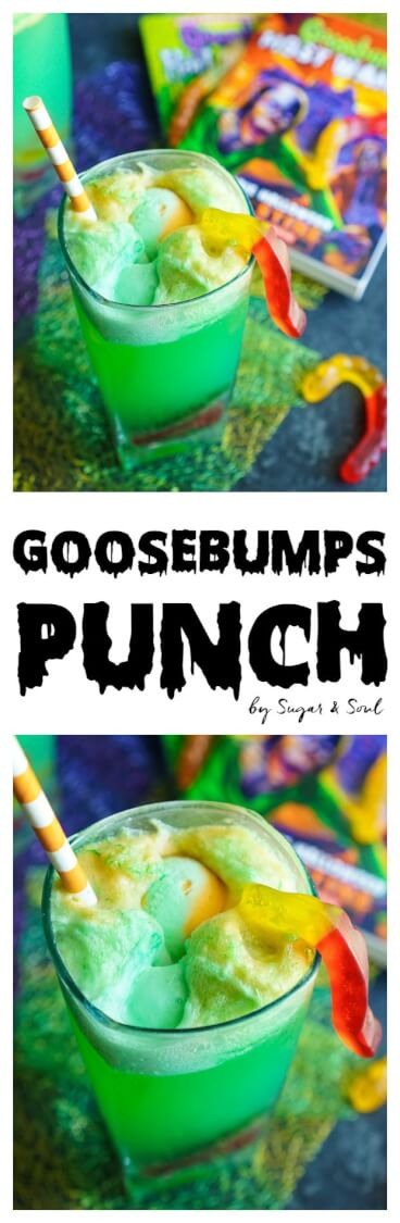 This Goosebumps Halloween Punch is an easy drink made with just 4 ingredients! It's the perfect addition to Halloween parties too! via @sugarandsoulco