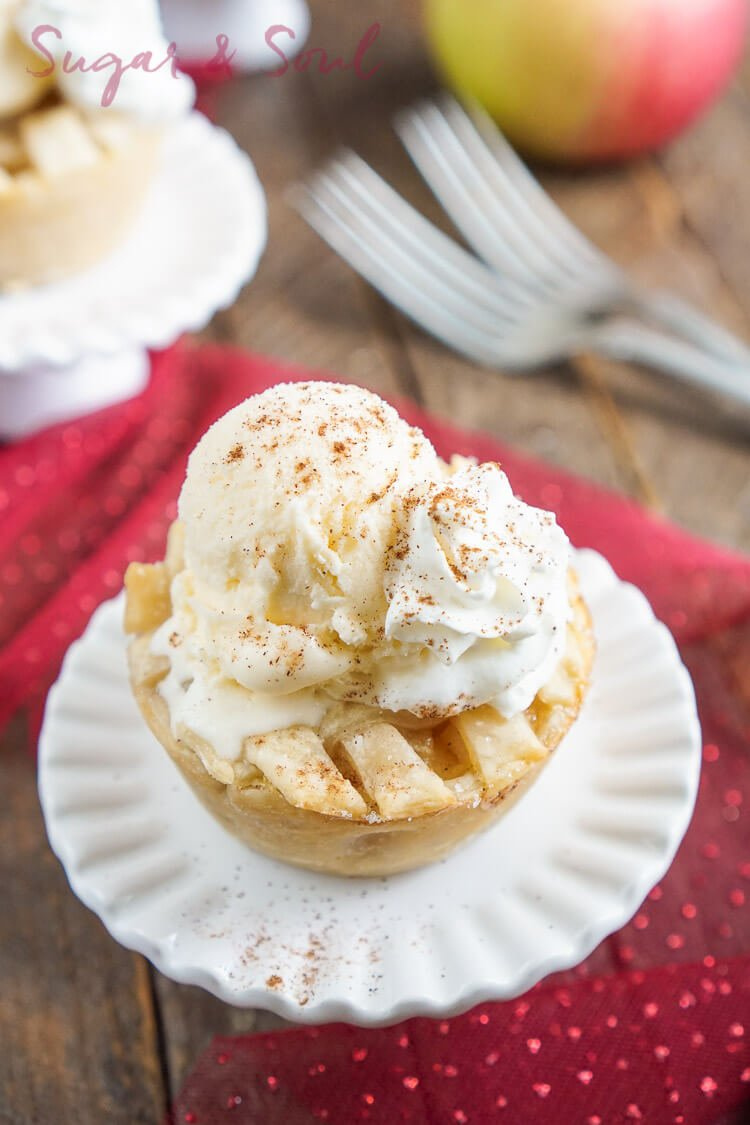 These Mini Apple Pies à la Mode are made with a premade pie crust and a sweet seasonal blend of apples and cinnamon.