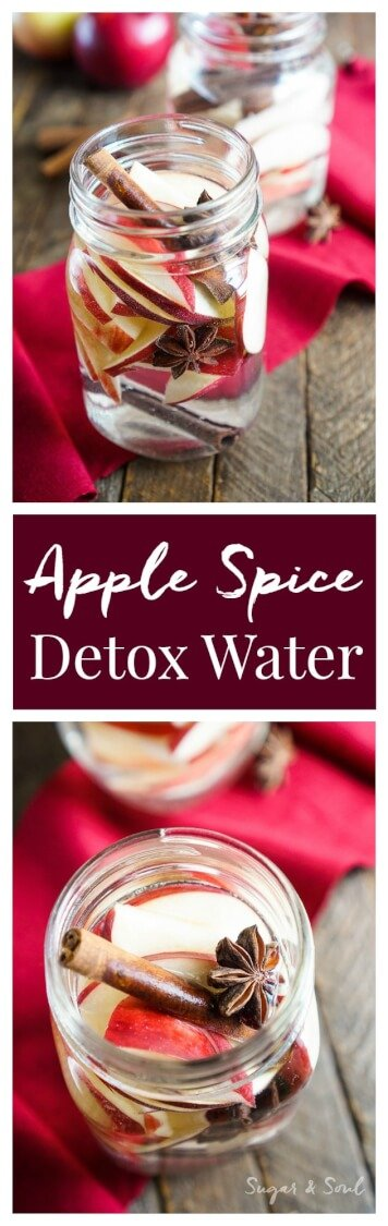 This Apple Spice Detox Water is a simple infusion and a great way to enjoy the flavors of the season without all the sugar! via @sugarandsoulco